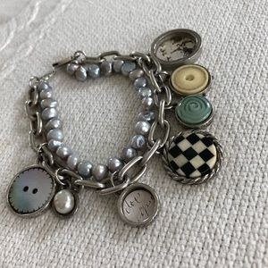 Jewelry - Charm bracelet with string of pearls